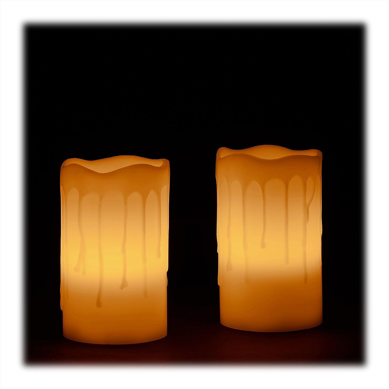 LED Kerzen Echtwachs Elektrokerzen 3er Set flammenlos flackernd Weihnachtskerzen