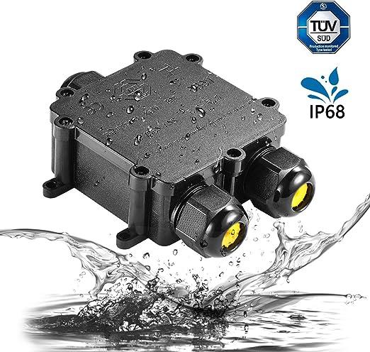 1 Pack Bo/îte de Jonction /Étanche,IP68 Boite /Électrique,3 Voies Connecteurs Bo/îte pour C/âble /Ø 4 /à 14mm avec 3 Paires Taille Diff/érente de Bouchons de Silicone