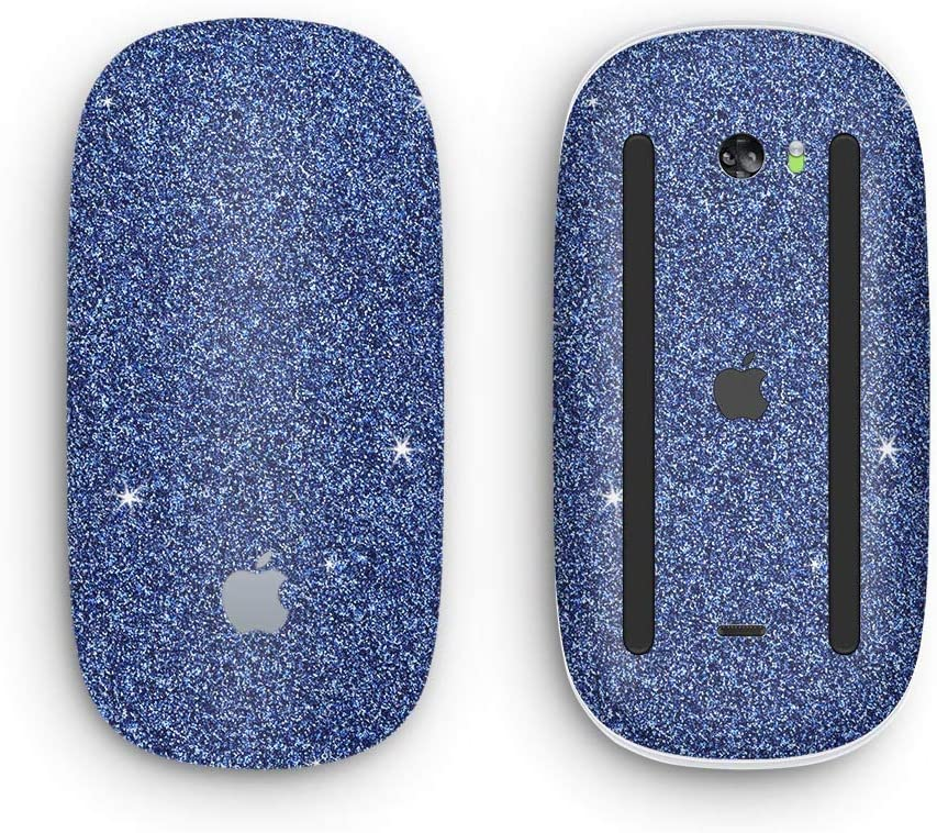 Wireless, Rechargable Design Skinz Premium Vinyl Decal for The Apple Magic Mouse 2 with Multi-Touch Surface Sparkling Blue Ultra Metallic Glitter