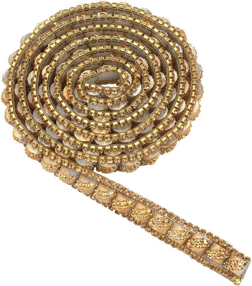Gold Longitud de 1 yarda Ancho de 0.4 pulgadas Rollo de refuerzo de calor de diamante de imitaci/ón Cinta Rollo de envoltura de malla Rollo de cinta de diamante de imitaci/ón