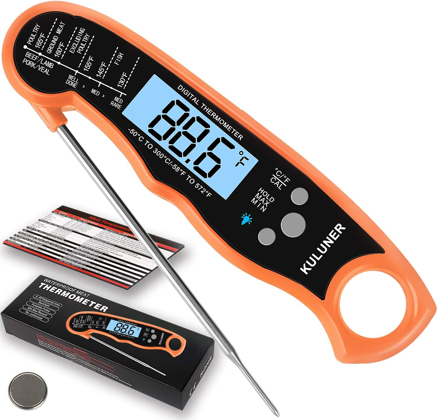 """KULUNER TP-01 Waterproof Digital Instant Read Meat Thermometer with 4.6"""" Folding Probe Backlight & Calibration Function for Cooking Food Candy, BBQ Grill, Liquids,Beef(Orange)"""