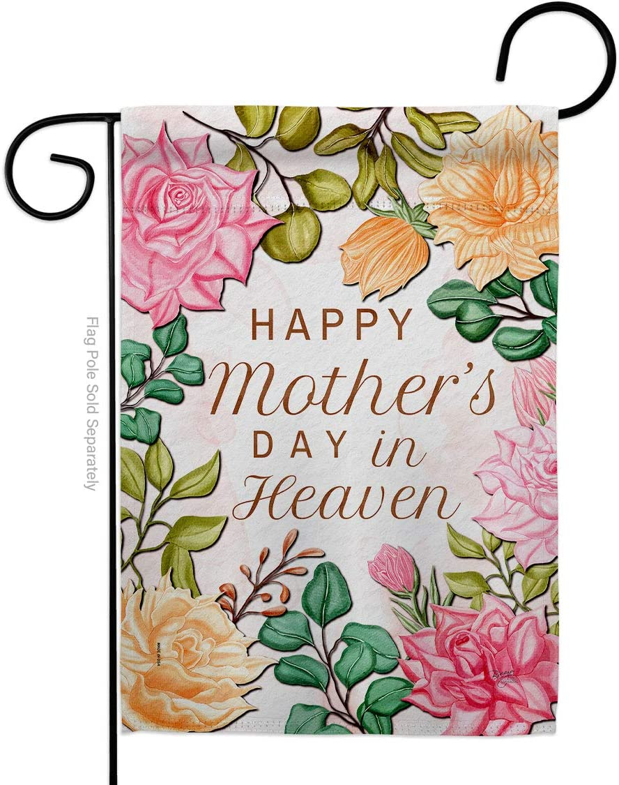 Breeze Decor Heaven Garden Flag Family Mother's Day Mom Mama Grandma Love Flowers Parent Sibling Relatives Grandparent House Decoration Banner Small Yard Gift Double-Sided, Made in USA