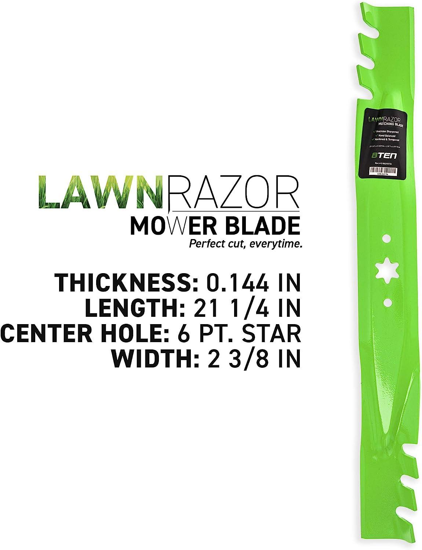 8TEN LawnRAZOR Blade Set for Cub Cadet MTD Troy Bilt 942-04308-X LTX1040 RZT-L42 Mustang XP Toothed 42-Inch Cut Deck 2 Pack