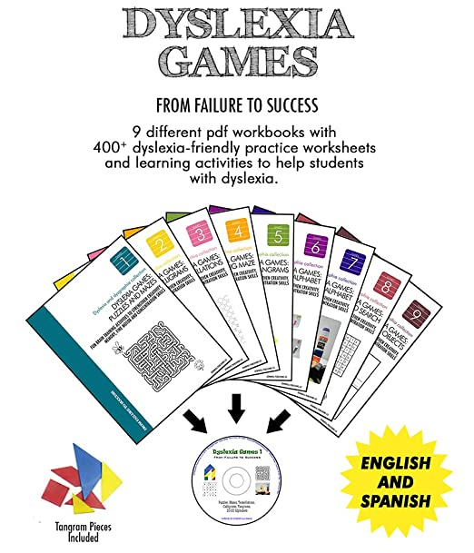 Amazon.com: Dyslexia Games | 9 PDF Workbooks for Kids in a CD + 3 ...