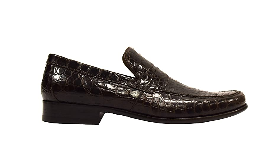 Mens Alligator Slip On Loafer Shoes US Sz 9 Brown 280563AT
