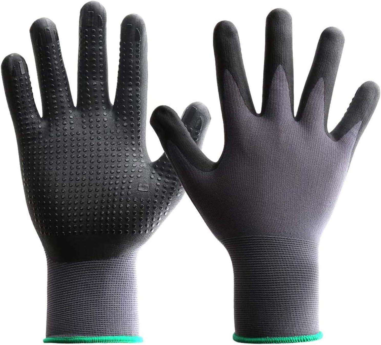 Guantes de jardinería para hombres y mujeres y niños, 12 pares de guantes protectores, guantes de trabajo de nailon antideslizantes con lunares
