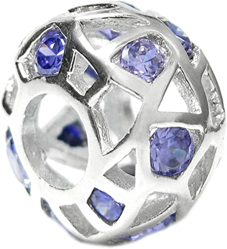 Sterling Silver Gold-tone Cubic Zirconia Rondelle Simulated April Birthstone European Style Bead Charm