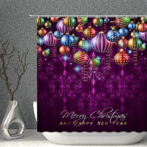 AMNYSF Merry Christmas Decor Shower Curtain Colorful Xmas Balls Happy New Year Purple Fabric Bathroom Curtains,70x70 Inch Waterproof Polyester with Hooks
