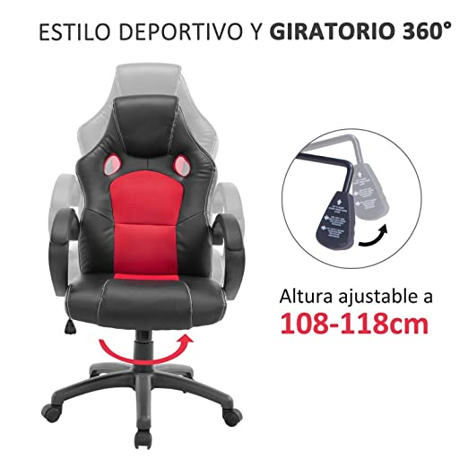 HOMCOM Gaming Silla Oficina ejecutiva Deportiva Racing Altura Regulable Respaldo Inclinable giratoria Silla Gamer de PC Negro/Rojo: Amazon.es: Hogar