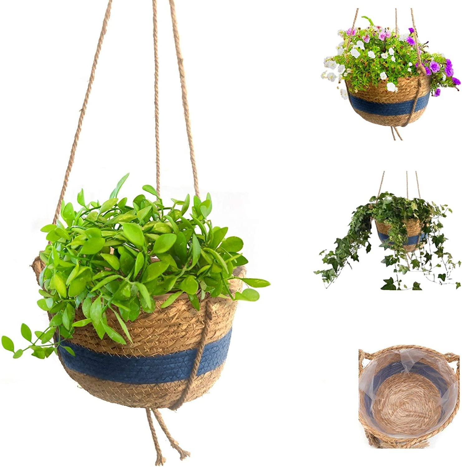 Blue Seagrass Hanging Plant Basket, for Indoor Outdoor Plants or Flowers, Waterproof Plastic Liners, 10 inches Round