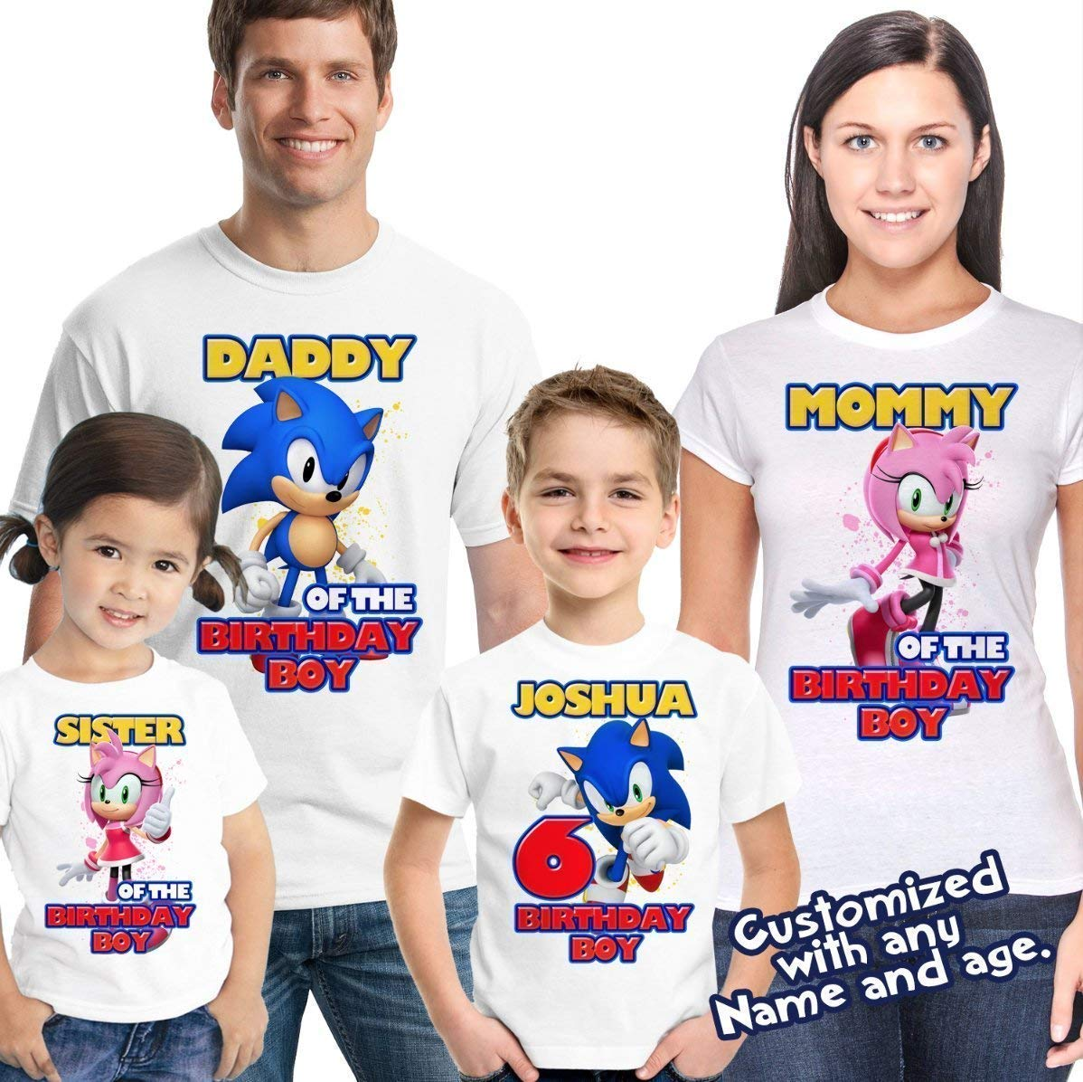 Amazon Com Sonic Birthday Shirt Customized Name And Age Personalized Birthday Shirts Sonic Family Shirts Handmade