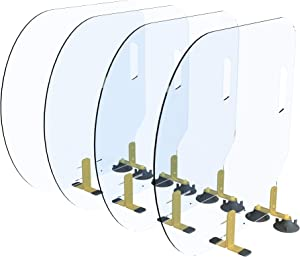 BARTITION Standard (Patent Pending) Partition for Bar Top or Dining Countertop Sneeze Guard MADE IN USA out of Polycarbonate Window SBR Suction Cups Brass 260 Brackets (4 pack)