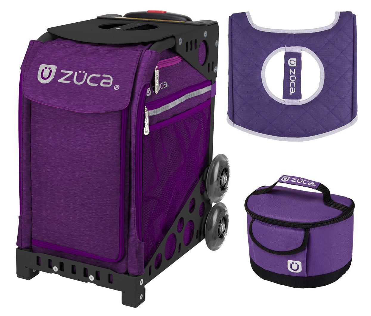 Zuca Sport Bag - Cosmic Purple Heather with Gift Lunchbox and Seat Cover (Black Non-Flashing Wheels Frame) by ZUCA