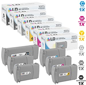 LD Remanufactured Ink Cartridge Replacement for HP 761 Extra High Yield (Matte Black, Cyan, Magenta, Yellow, Gray, Dark Gray, 6-Pack)