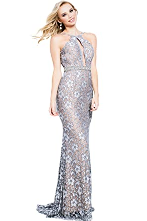 Jovani Prom 2018 Dress Evening Gown Authentic 39310 Long Silver