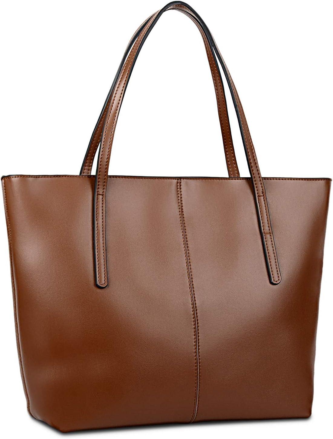 Gywon Womens Genuine Leather Tote Handbag Purse Shoulder Bag for Women 13 Inch Laptop Holder