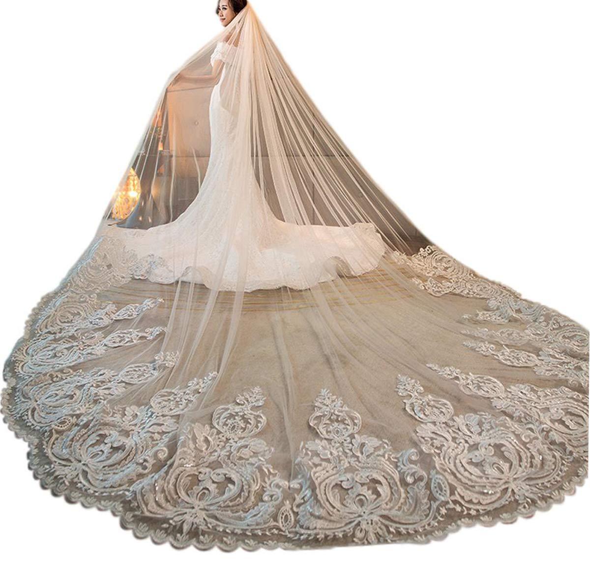 Women's 3M 3.5M 4M 1T Lace Applique Chapel Cathedral Bridal Veil With Free Comb (White, 4M Length)
