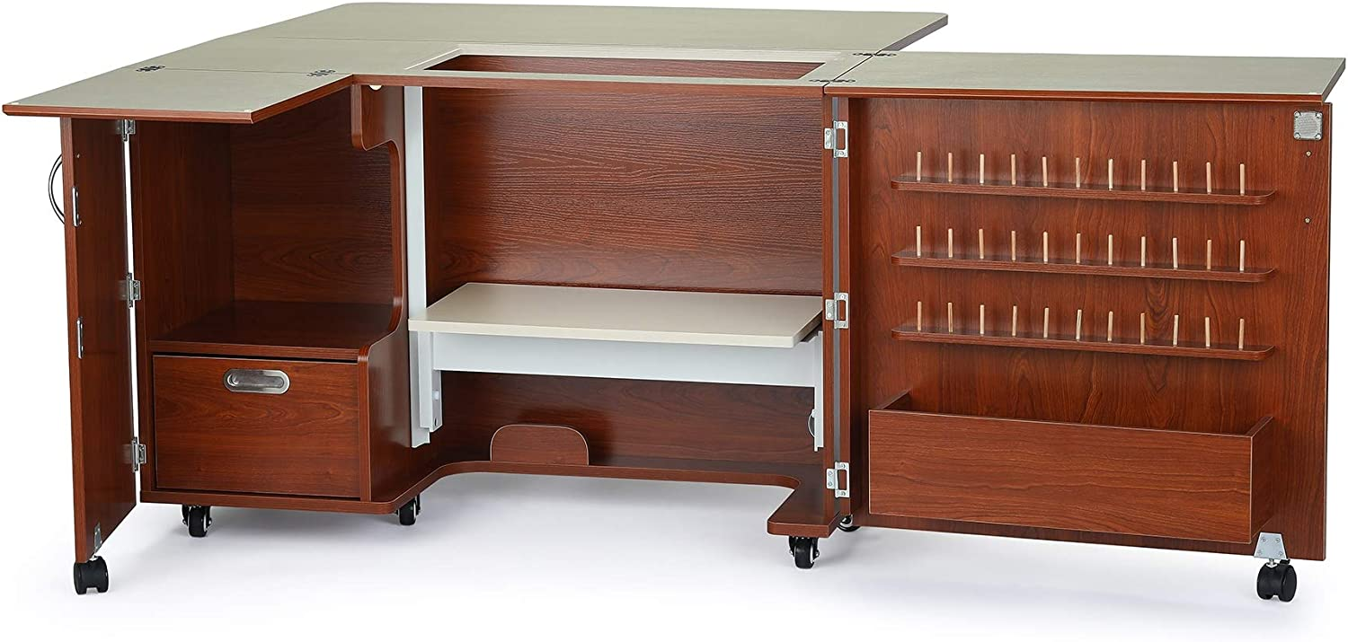 Arrow K8405 Wallaby Ii Kangaroo Sewing Cutting Quilting Crafting Cabinet And Table Includes Storage And Airlift Portable With Wheels Teak Finish