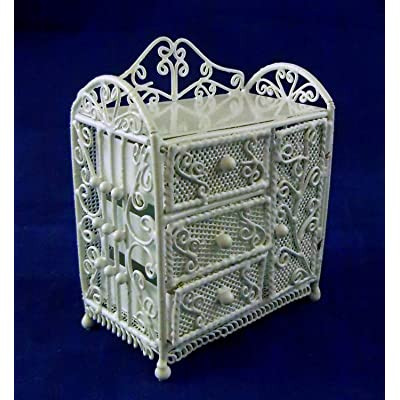 Vanity Fair Dolls House Miniature Nursery Furniture White Wire Wrought Iron Changing Table: Toys & Games