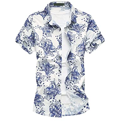 d2a42603eebe Image Unavailable. Image not available for. Color  WEEN CHARM Men s Floral  Print Hawaiian Tropical Button Down Casual Short Sleeve Shirt