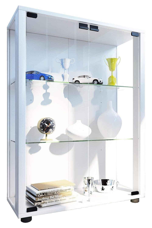 marca en liquidación de venta blancoo VCM 911996 911996 911996 sintalo Vitrina Independiente sin iluminación LED Madera Cristal blancoo 80 x 60 x 25 cm  soporte minorista mayorista