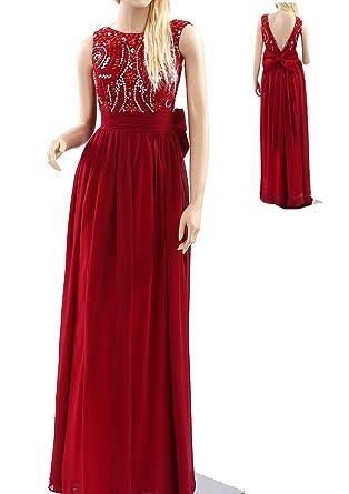 Bampo Womens A-line Scoop Neckline Long Length Chiffon Prom Dresses 2017 (2,