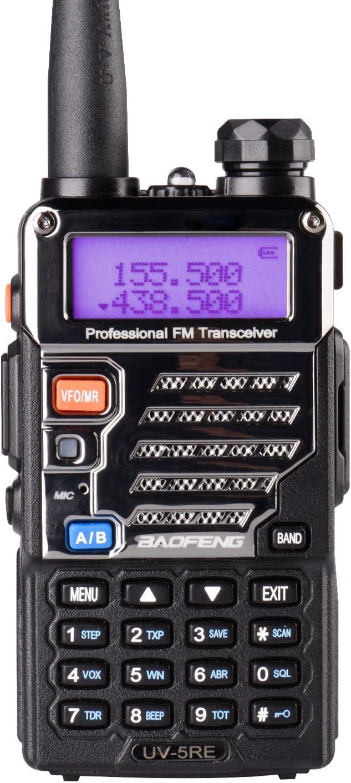 Baofeng UV-5RE Two Way Radio Long Range Walkie Talkie UHF VHF Radio Dual-Band136-174/400-480 MHz 128Channels Upgrade Enhanced Metallic Version FM Amateur Portable Radio Transceiver Black