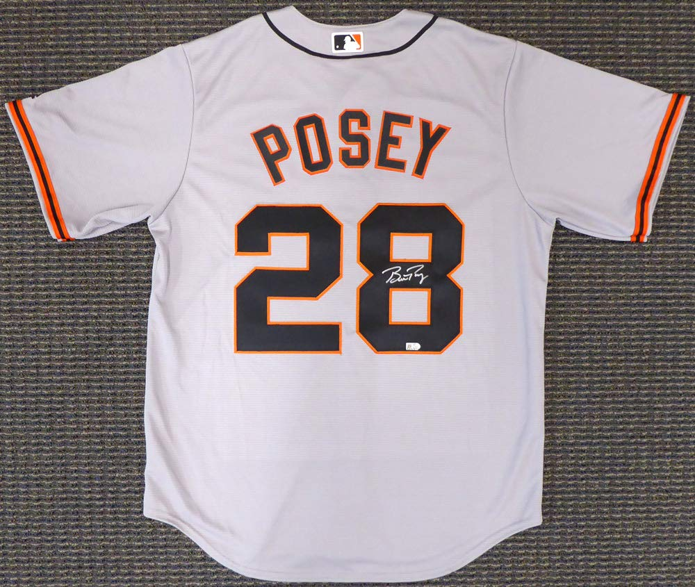 091f24c25 San Francisco Giants Buster Posey Signed Gray Majestic Cool Base Jersey Size  L MLB Holo Stock #138012 at Amazon's Sports Collectibles Store