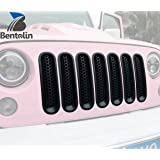 [Upgrade Clip in Version] Matte Black Front Grille Grill Mesh Inserts Kit for Jeep Wrangler Rubicon Sahara Jk 2007-2015 - 7PCS