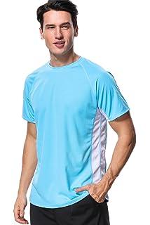 b607baad3273a anfilia Men s Rash Guard Short Sleeve Swim Shirts Sportwear Loose Fit UPF  ...