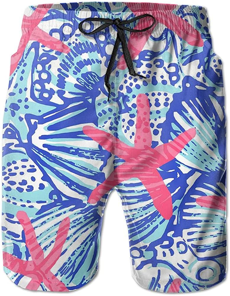 Sunshine Red Starfish Mens Beach Shorts Elastic Waist Pockets Lightweight Swimming Board Short Quick Dry Short Trunks