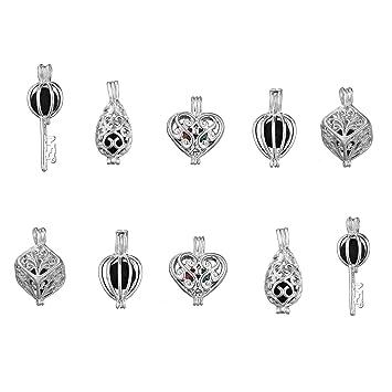 10pcs Mixed Style Bead chapado en plata colgante de jaula - añadir ...