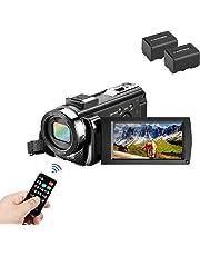 Videocamera Videocamera MELCAM 1080P 30FPS 24MP Fotocamera digitale da 3,0 pollici con telecomando e 2 batterie ricaricabili, registratore Youtuber e webcam