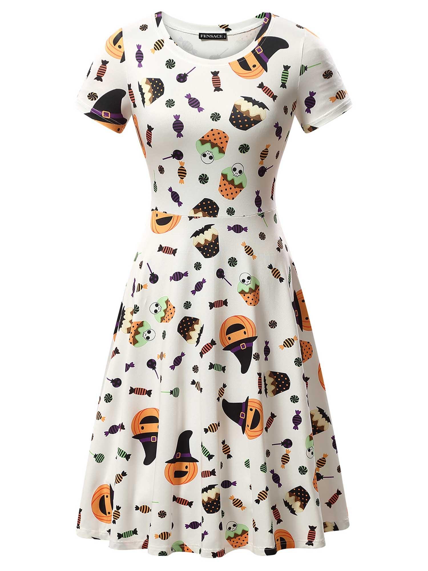 FENSACE Womens Short Sleeves Casual A-Line Halloween Pumpkin Dress, Candy, Small