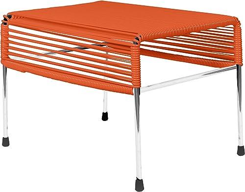 Innit Designs Adam Ottoman, Orange Weave on Chrome Frame