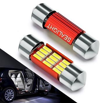 Bombillas LED Coche 31mm SEALIGHT 12 SMD Canbus Error Free Techo LED DE3175 4014 C5W DE3021 DE3022 5630 2835 6428 7065 Lampara coche Interior xenón 6000K ...