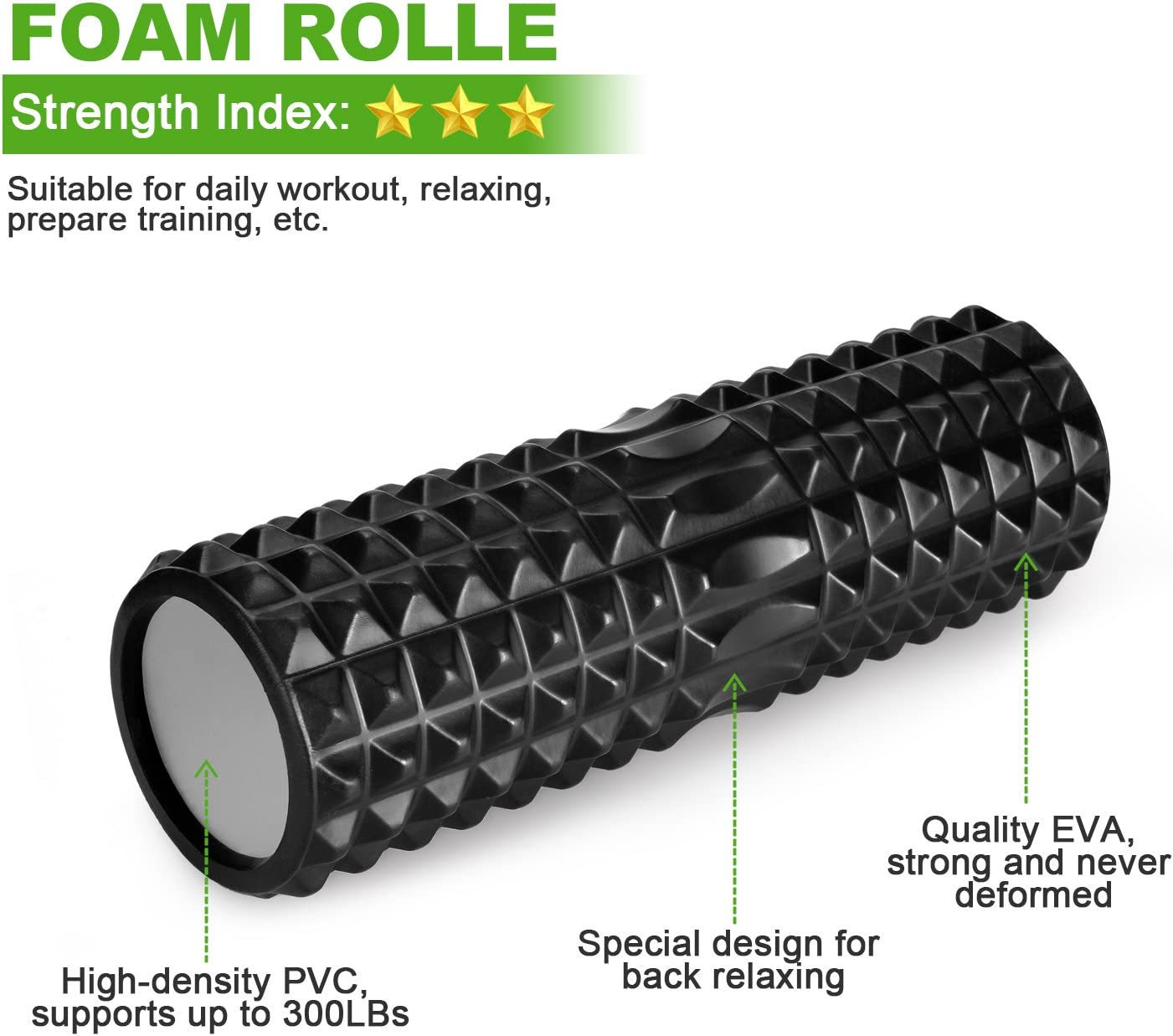 Faszienb/älle Foam Roller zum Faszien Training von Muskeln Odoland Faszienrolle Schaumstoffrolle Rollen Set 5 in 1 mit Roller Stick u