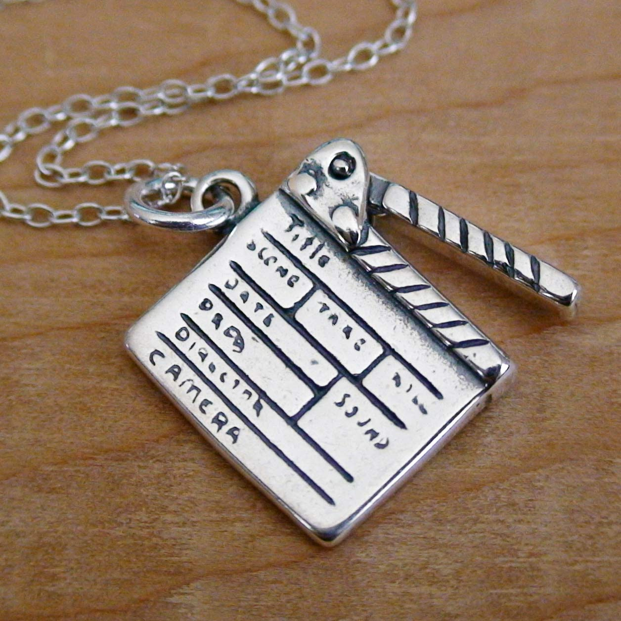 925 Sterling Silver Charm Film TV Crew NEW Directors Movie Clapboard Necklace