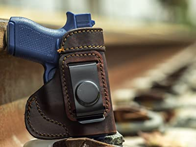 OUTBAGS LOB3S-G42 Brown Genuine Leather IWB Conceal Carry Gun Holster for Glock 42 .380. Handcrafted in USA