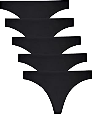 VOENXE Seamless Thongs for Women No Show Thong Underwear Women 5-10 Pack