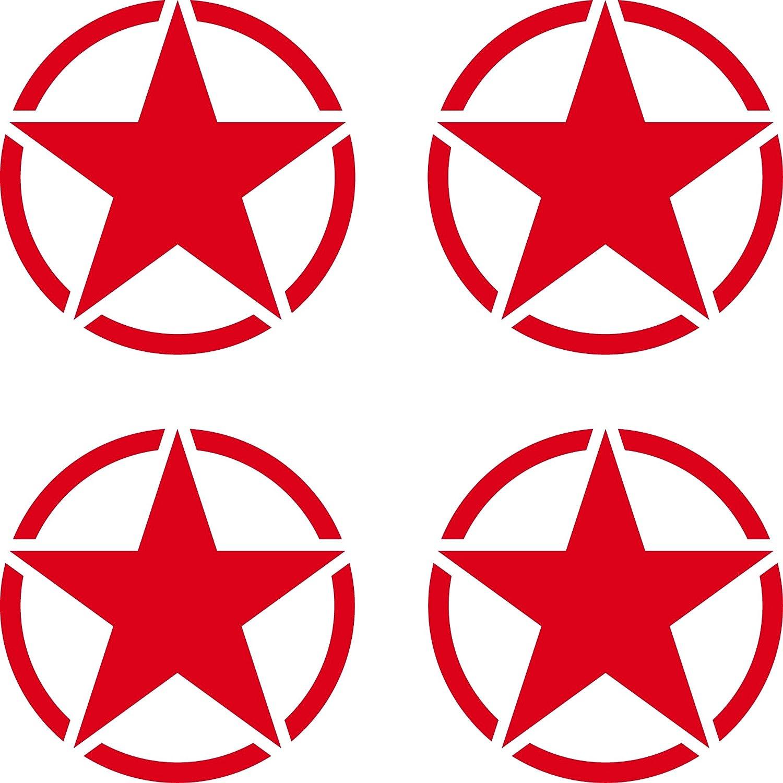 Greenit 4 Stück Us Sterne 5cm Rot Usa Us Army Schriftzug Mp Auto Jeep Tuning Aufkleber Tattoo Die Cut Deko Folie Auto