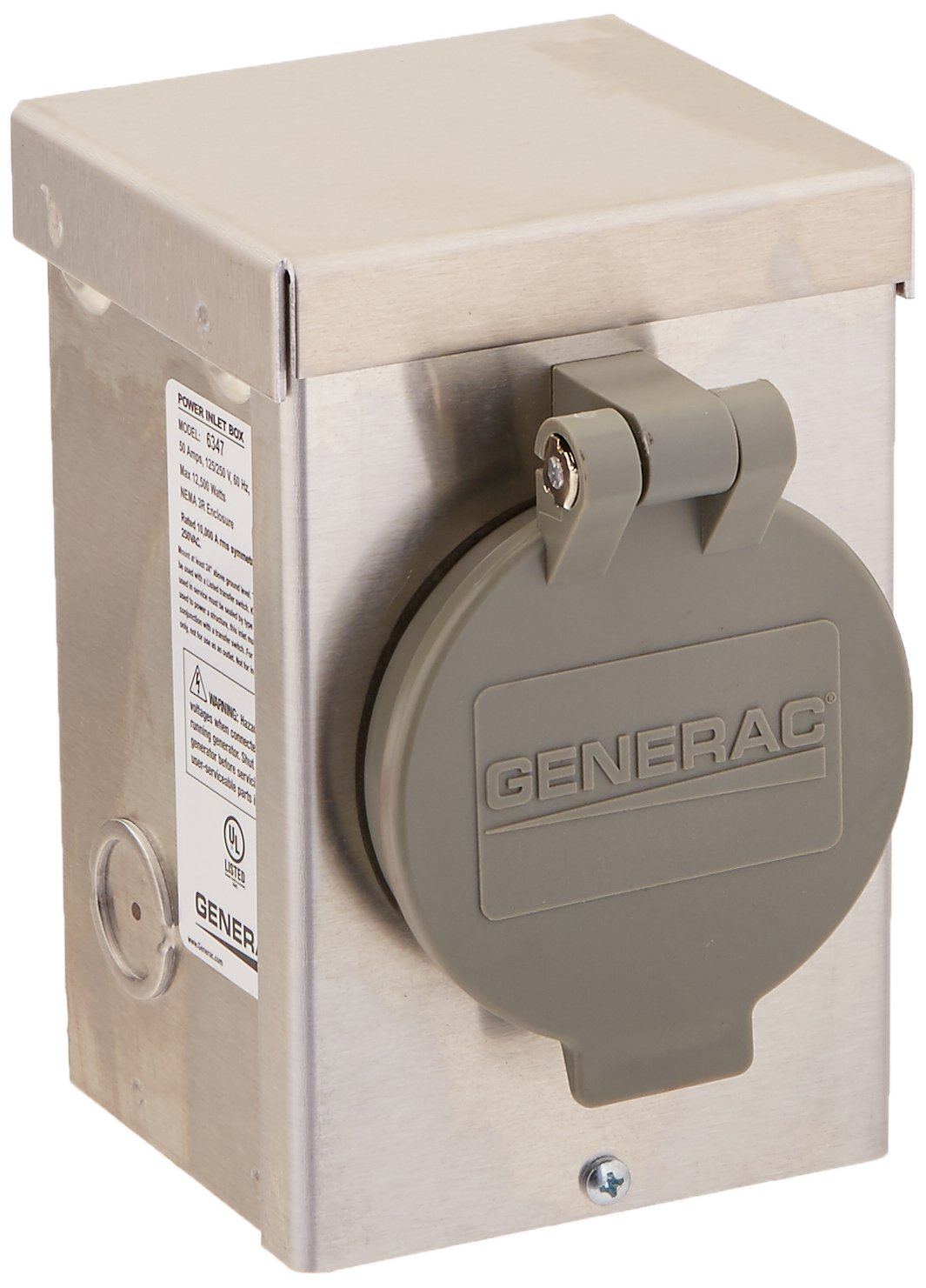 Generac 6347 50-Amp 125/250V Aluminum Power Inlet Box with Spring-Loaded Flip Lid by Generac