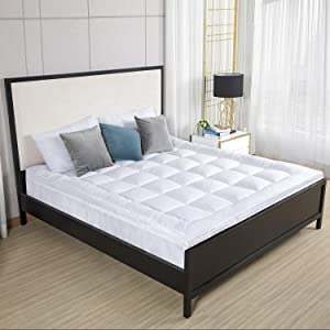 """D & G THE DUCK AND GOOSE CO Premium Plush Mattress Topper - Down Alternative Gel-Filled Fiber Quilted Bed Topper 2"""" H, King Size"""