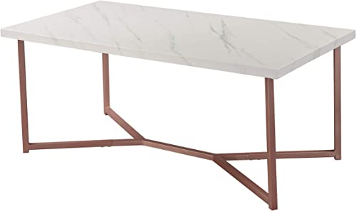 Knocbel Mid Century Coffee Table for Living Room, Sofa Side Table with Wood Top Metal Base, 165 Lbs Capacity, 18.1 H x 42.1 L x 22.0 W White Marble and Rose Gold