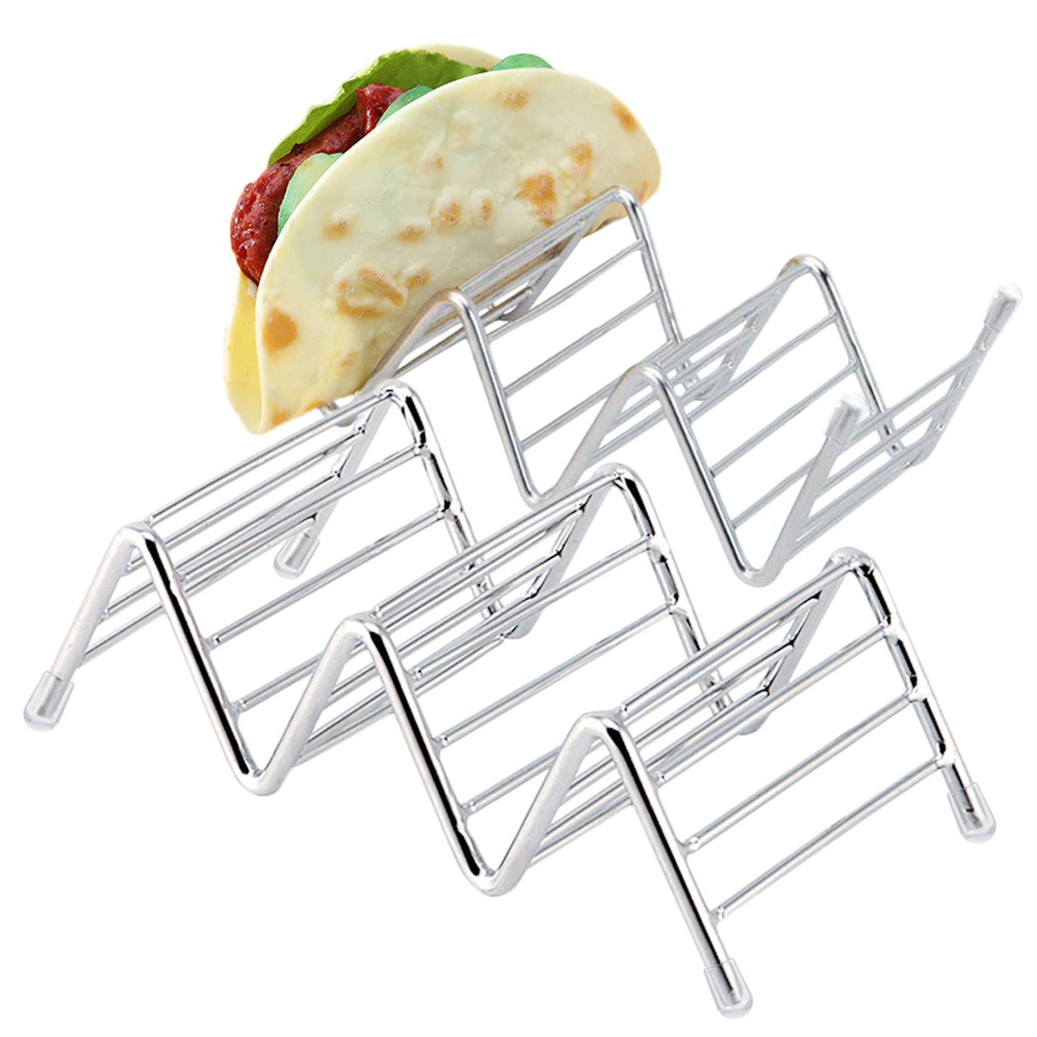 Kalevel 2 Pack Taco Shell Holder Taco Stands Stainless Steel Taco Tray Oven Safe Taco Holder Taco Serving Rack for 1 to 2 Hard or Soft Shell Tacos