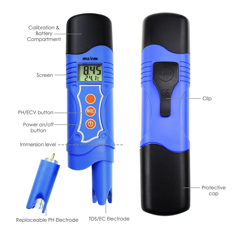 Spa 0,01 mS//cm Aufl/ösung 19,99 mS//cm Aquarium Labor 3-in-1 pH Temperatur Leitf/ähigkeit EC Meter Tester Digital Stift-Typ ATC Schwimmbad Tank Wasserqualit/ätstest Analysieren Kit
