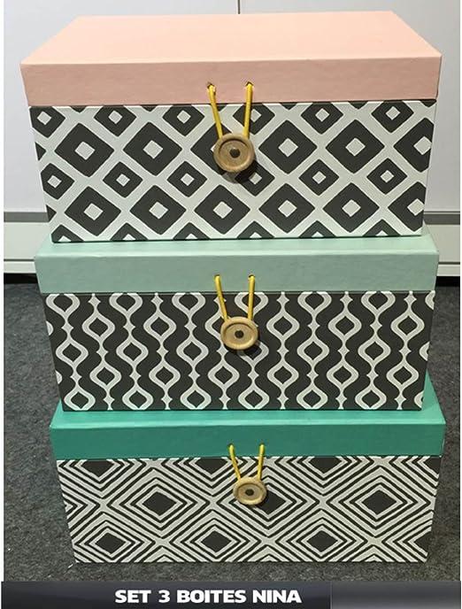 Juego de cajas de cartón para almacenaje Scandi Nina, caja de almacenaje, caja cartón tapa: Amazon.es: Hogar
