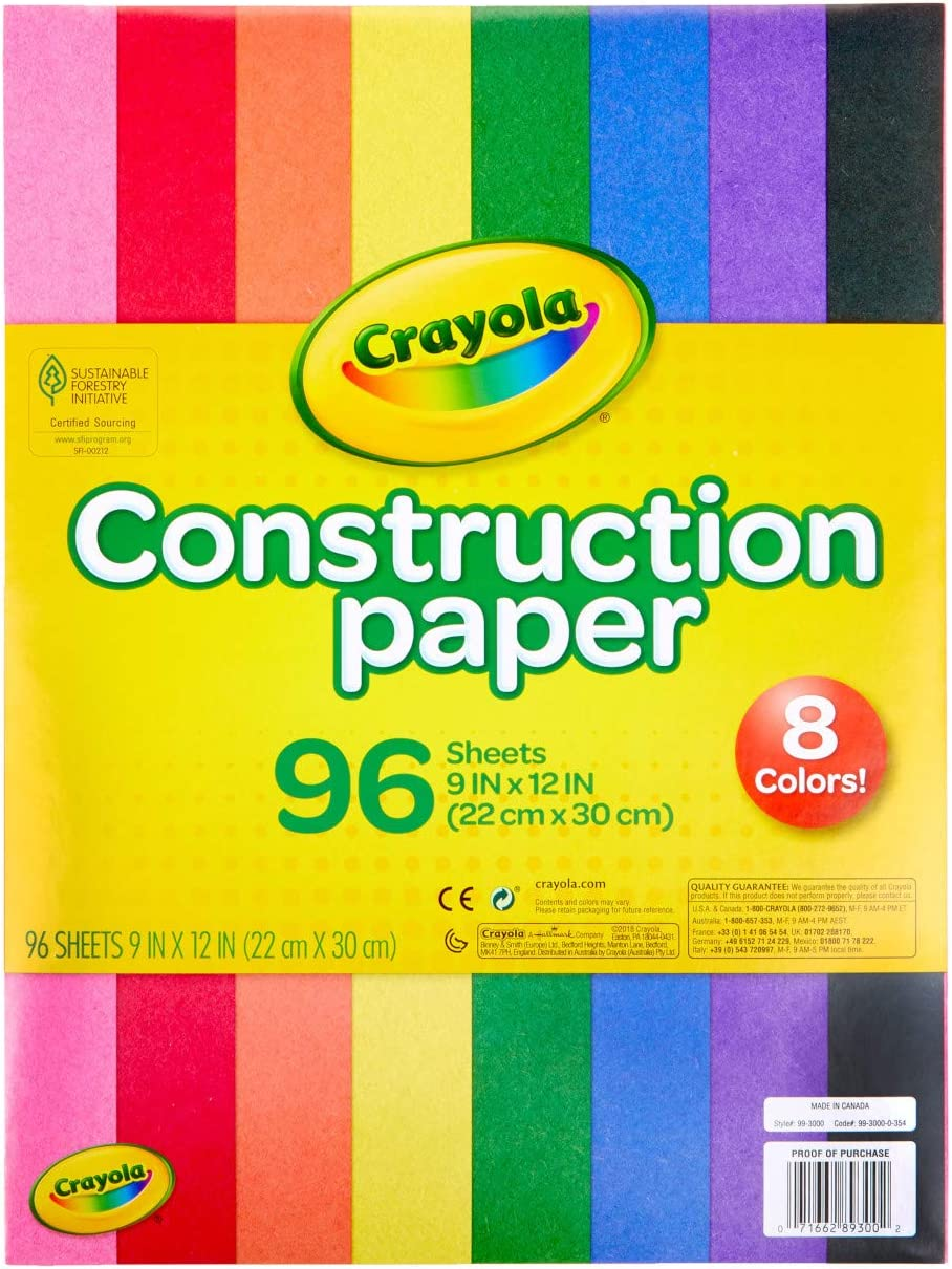 Crayola Construction Paper, School Supplies, 96 ct Assorted Colors, 9