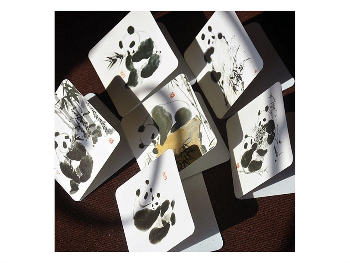 Biglietto Anniversario nero + bianco Biglietto dauguri 6 Pcs Splash Ink Panda Greeting Cards per il giorno del ringraziamento San Valentino Festa della mamma