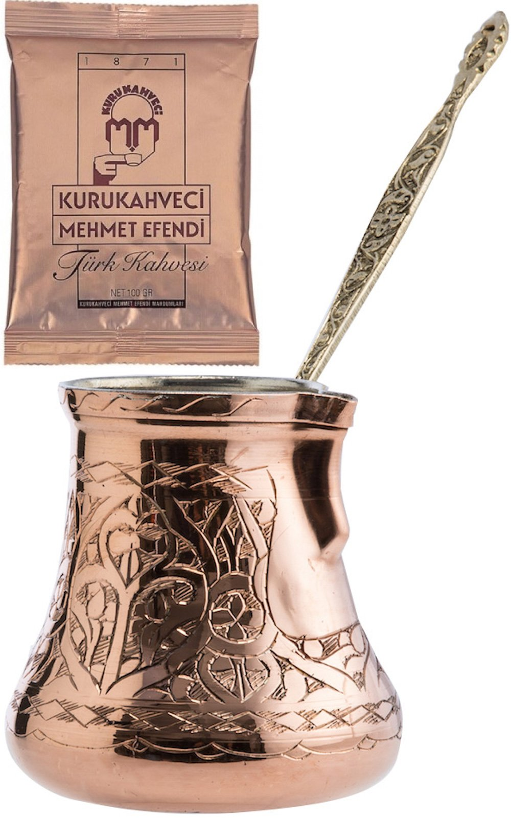 CopperBull 2016 Design XXL Heavy Duty Engraved Copper Turkish Greek Coffee Pot Stovetop Coffee Maker Cezve Ibrik Briki with Brass Handle (24 Oz) by CopperBull (Image #1)